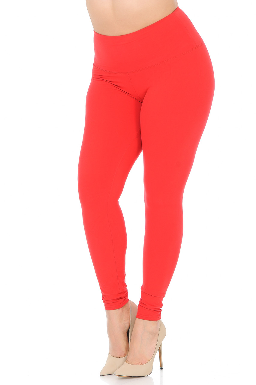 45 degree view of Red Buttery Soft High Waisted Plus Size Basic Solid Leggings - 5 Inch Band