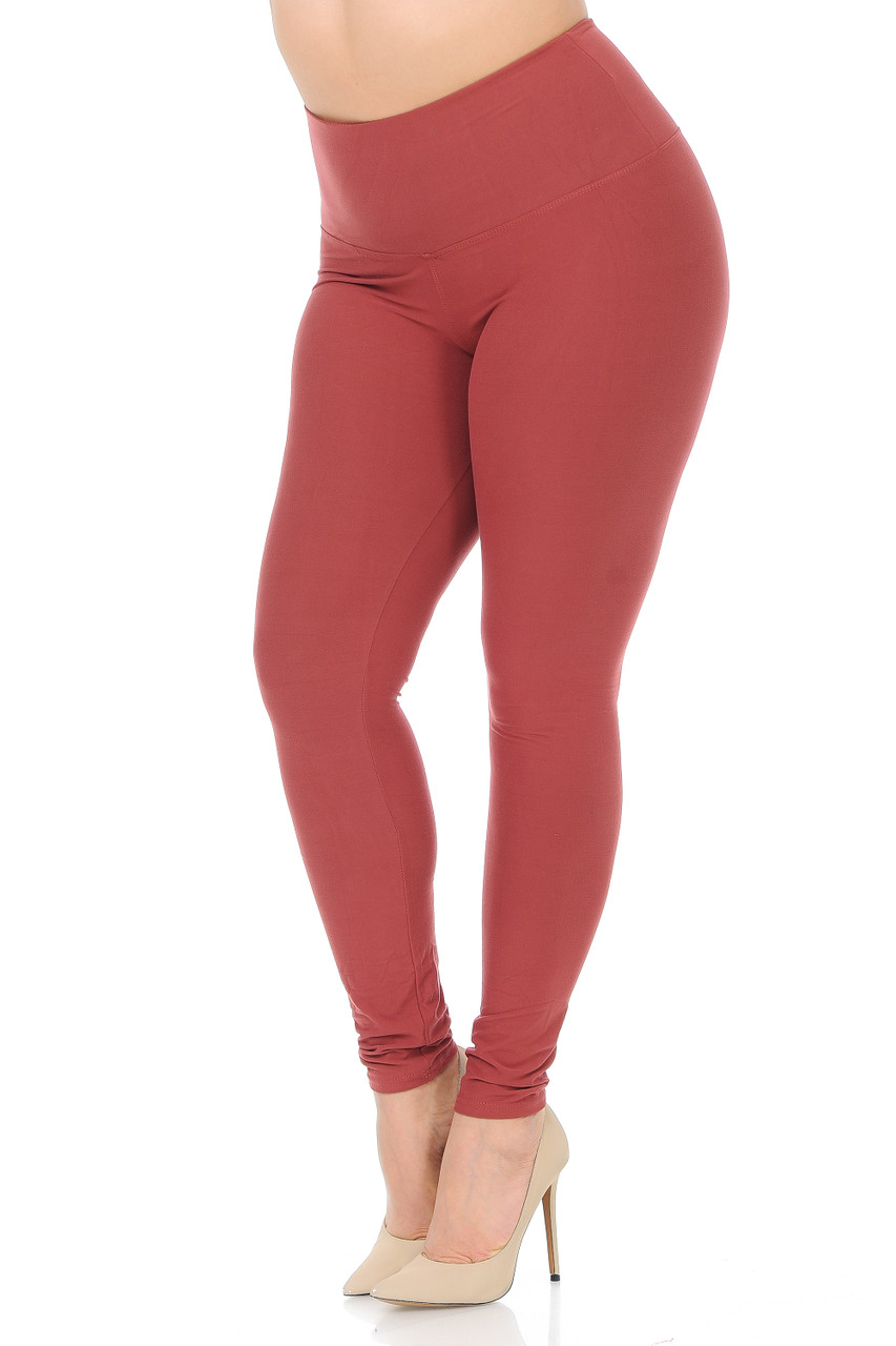 Buttery Soft High Waisted Plus Size Basic Solid Leggings - 5 Inch Band