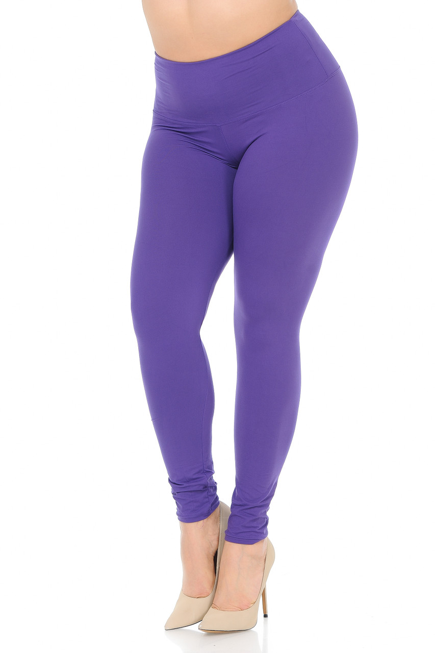 45 degree view of Purple Buttery Soft High Waisted Plus Size Basic Solid Leggings - 5 Inch Band
