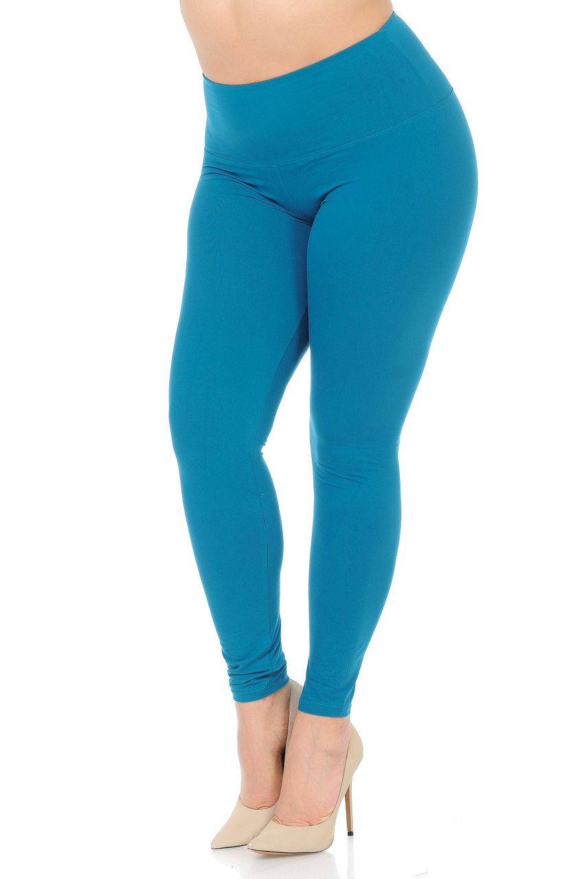 45 degree view of teal Buttery Soft High Waisted Plus Size Basic Solid Leggings - 5 Inch Band