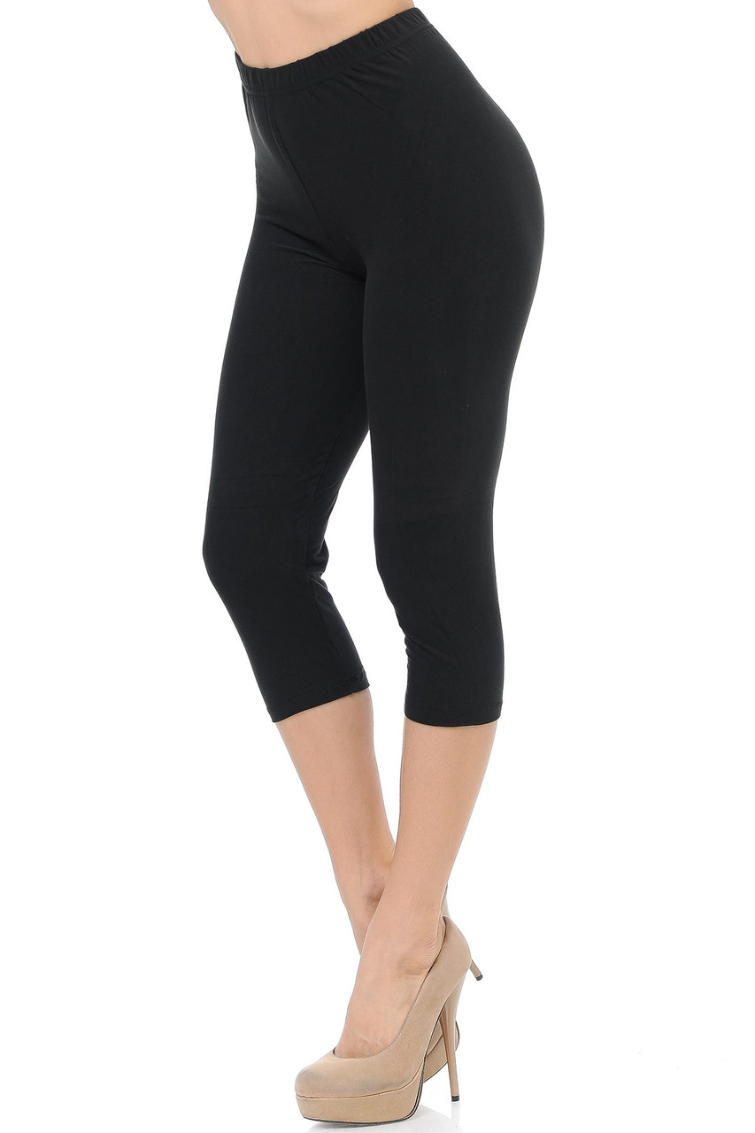 45 degree view of Black Buttery Soft Basic Solid Capris - New Mix