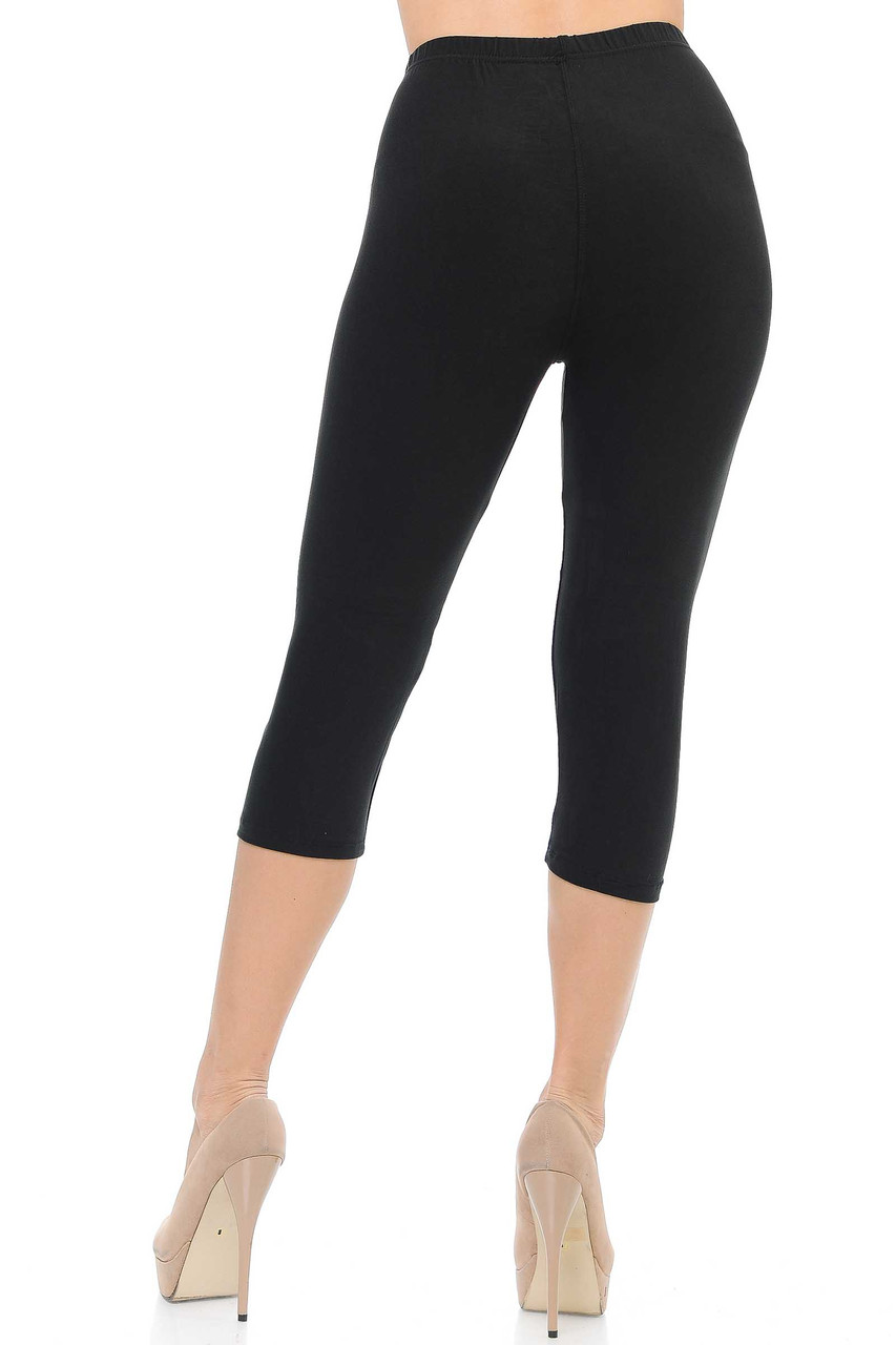 Backside image of Black Buttery Soft Basic Solid Capris - New Mix