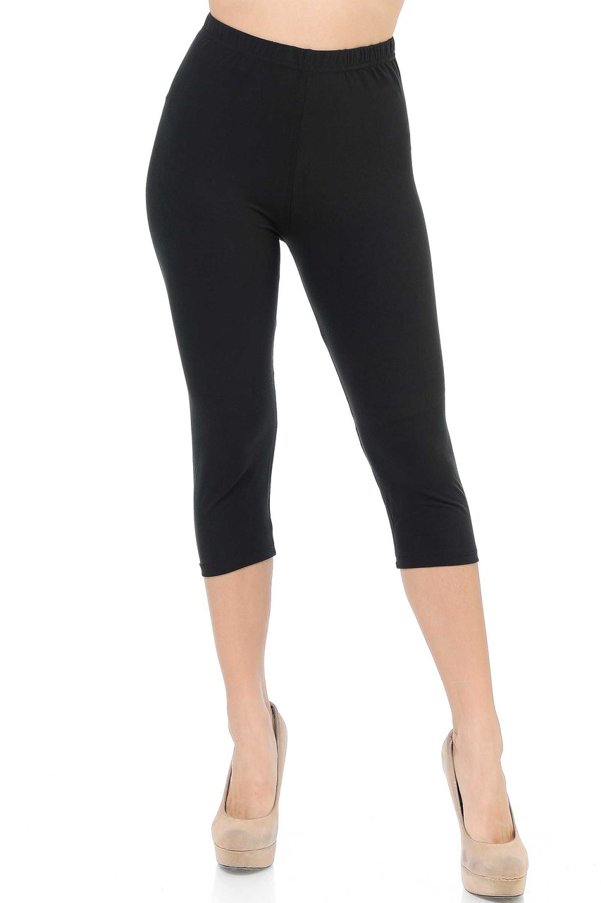 Front side image of Black Buttery Soft Basic Solid Capris - New Mix