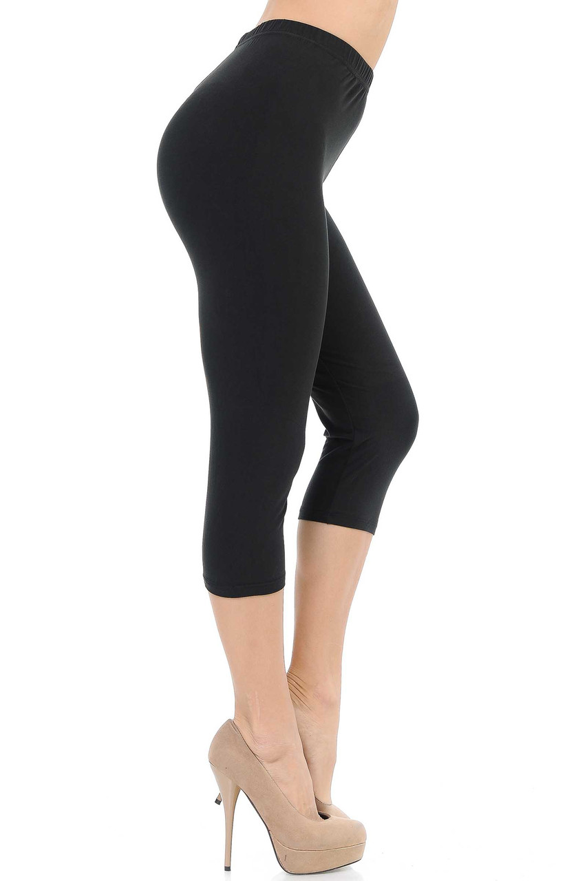 Right side image of Black Buttery Soft Basic Solid Capris - New Mix