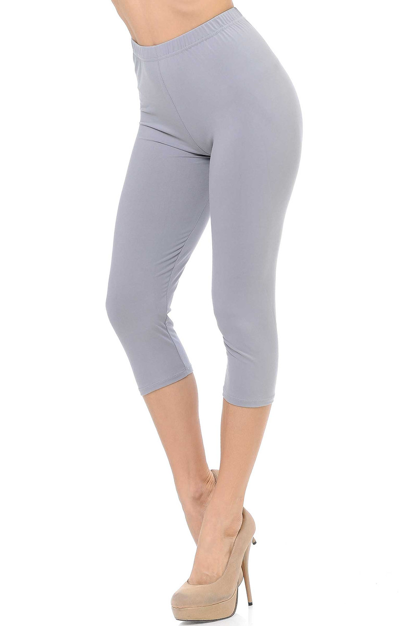 45 degree view of Heather Gray Buttery Soft Basic Solid Capris - New Mix
