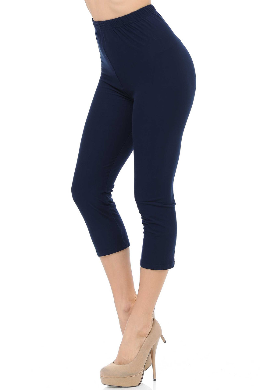 45 degree view of Navy Buttery Soft Basic Solid Capris - New Mix