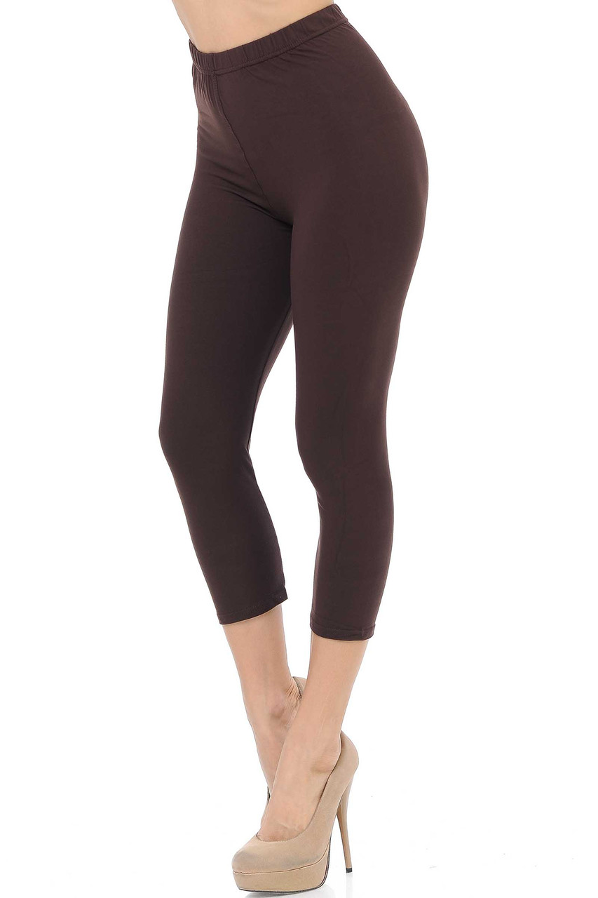 45 degree view of Brown Buttery Soft Basic Solid Capris - New Mix