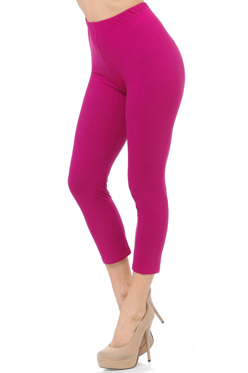 45 degree view of Magenta Buttery Soft Basic Solid Capris - New Mix