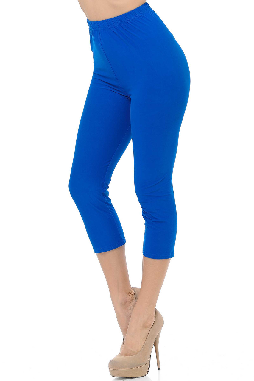 45 degree view of Blue Buttery Soft Basic Solid Capris - New Mix