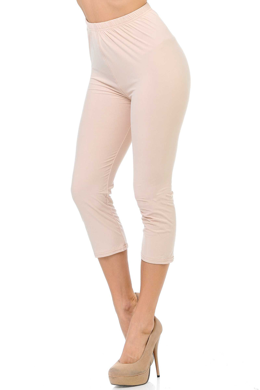 45 degree view of Beige Buttery Soft Basic Solid Capris - New Mix