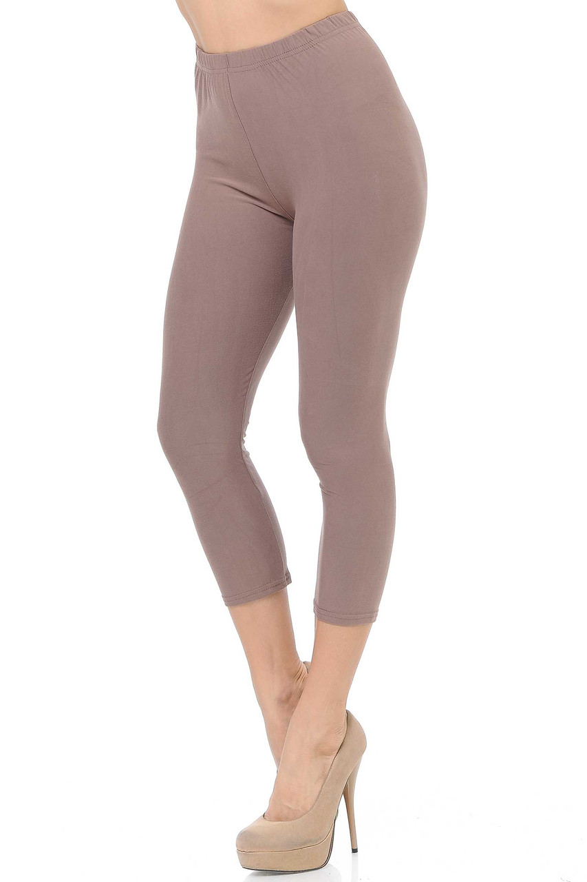 45 degree view of Mocha Buttery Soft Basic Solid Capris - New Mix