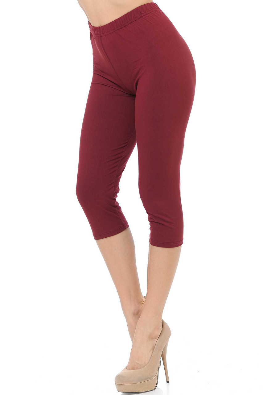 45 degree view of Burgundy Buttery Soft Basic Solid Capris - New Mix