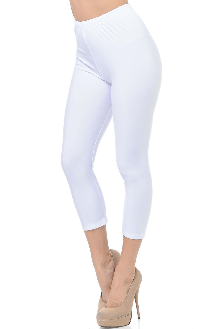 45 degree view of White Buttery Soft Basic Solid Capris - New Mix