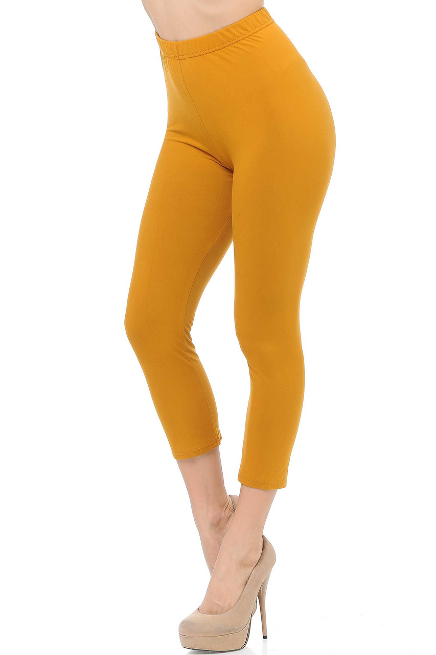 45 degree view of Mustard Buttery Soft Basic Solid Capris - New Mix