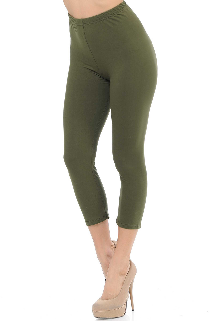 45 degree view of Olive Buttery Soft Basic Solid Capris - New Mix