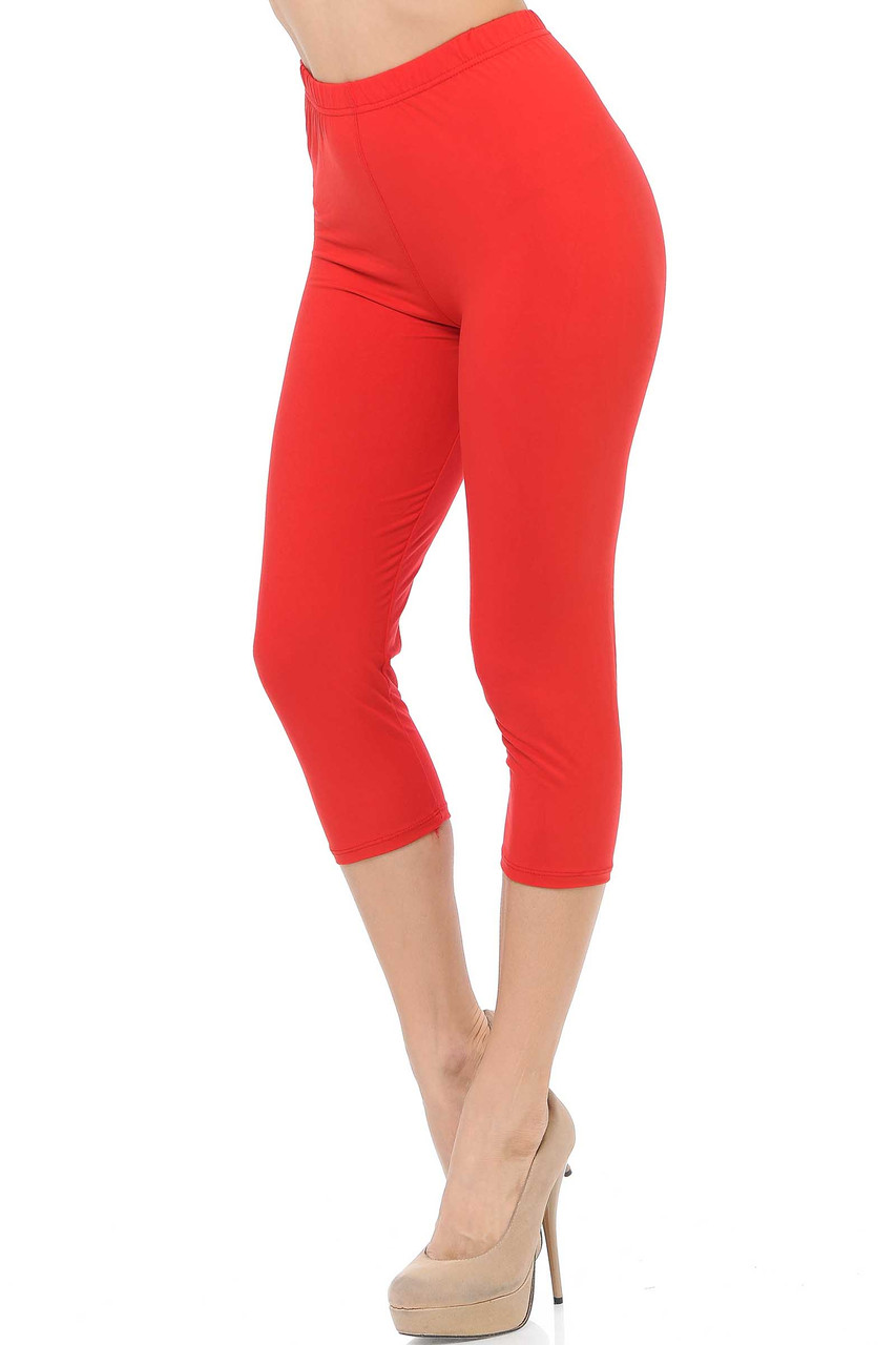 45 degree view of Red Buttery Soft Basic Solid Capris - New Mix