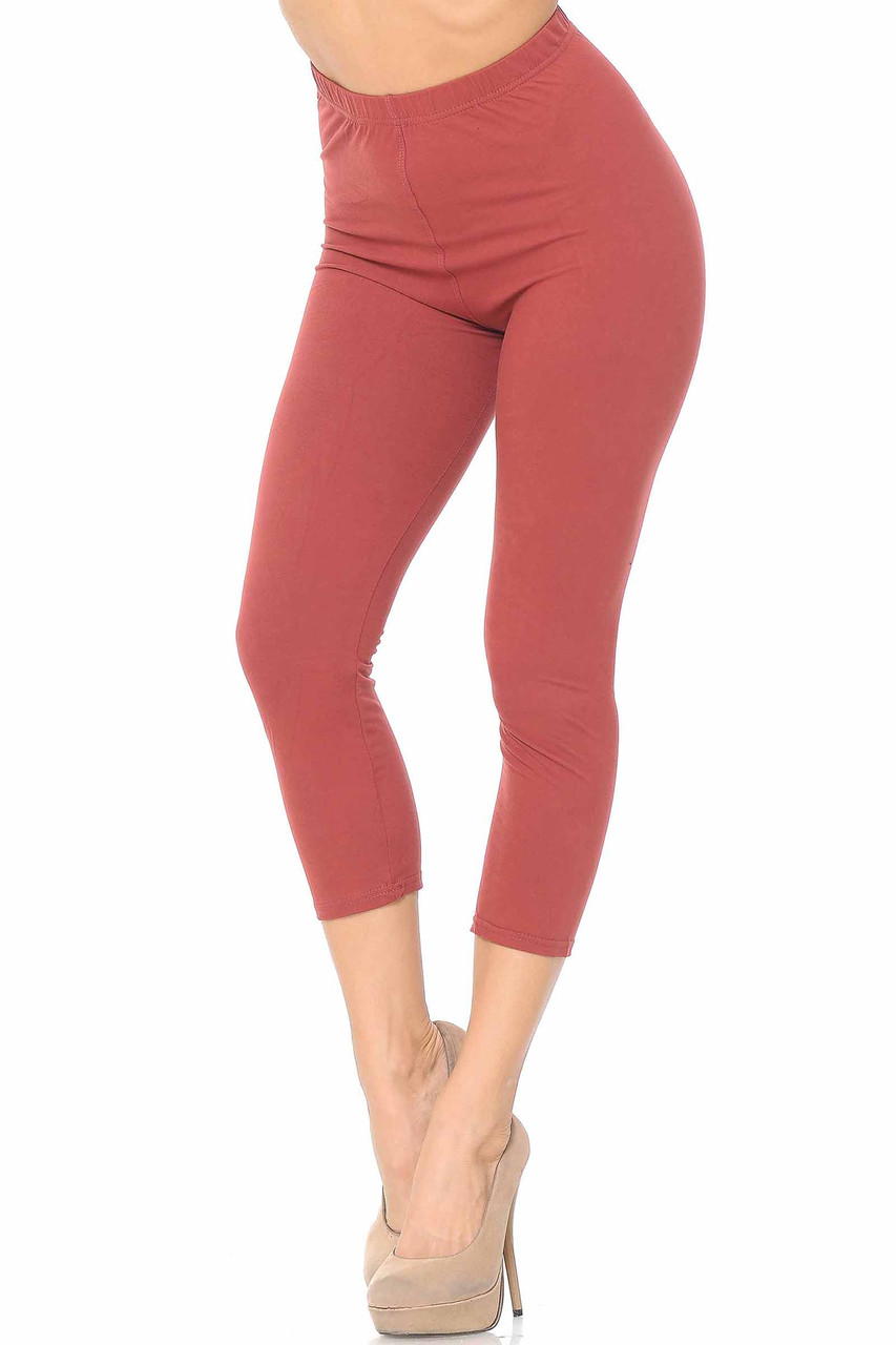 45 degree view of Buttery Soft Basic Solid Capris - New Mix