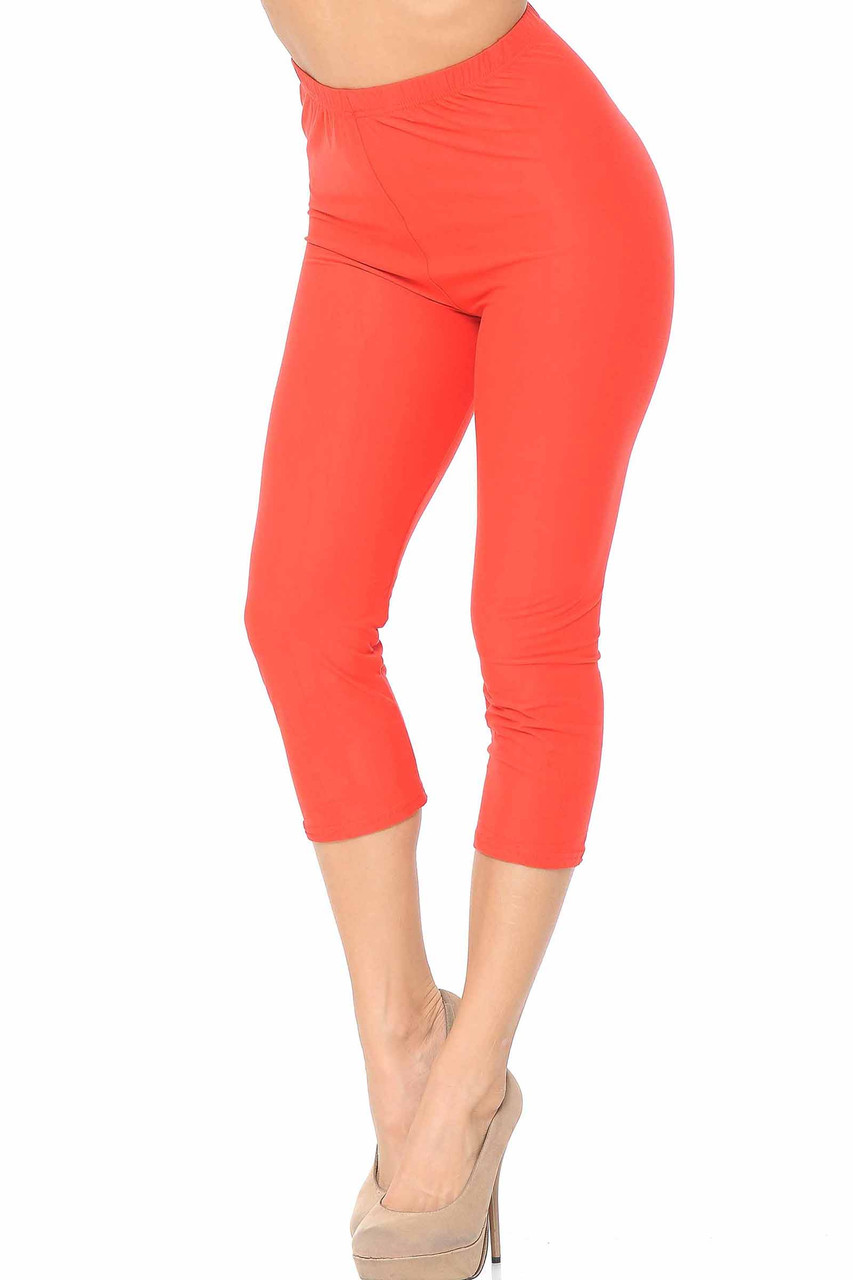 45 degree view of Coral Buttery Soft Basic Solid Capris - New Mix