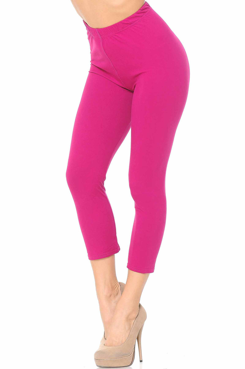 45 degree view of Fuchsia Buttery Soft Basic Solid Capris - New Mix