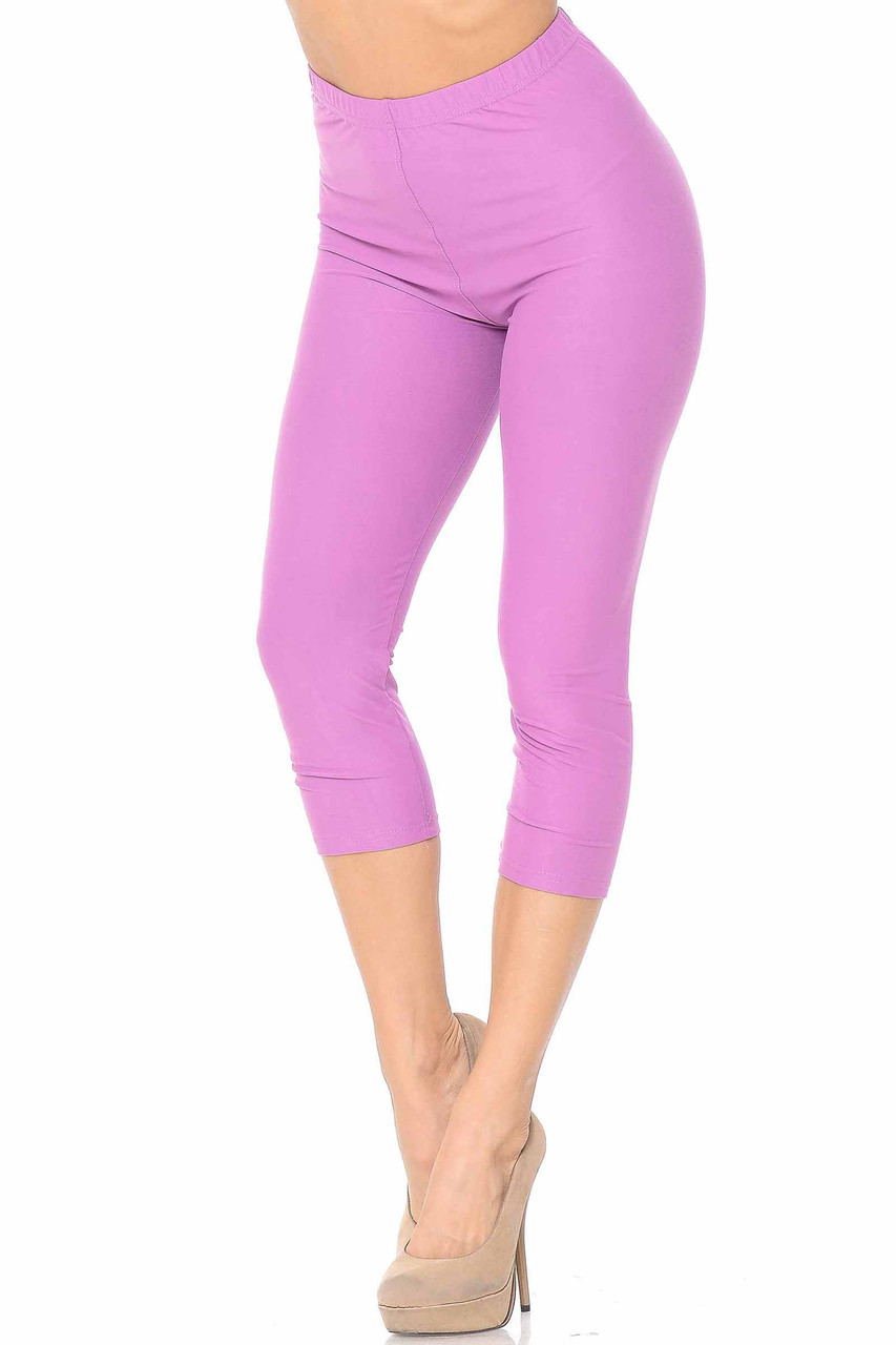 45 degree view of Lavender Buttery Soft Basic Solid Capris - New Mix