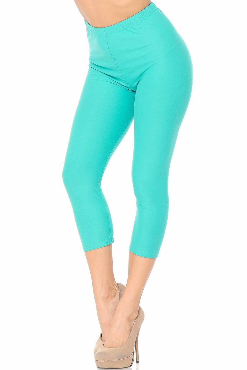 45 degree view of Mint Buttery Soft Basic Solid Capris - New Mix
