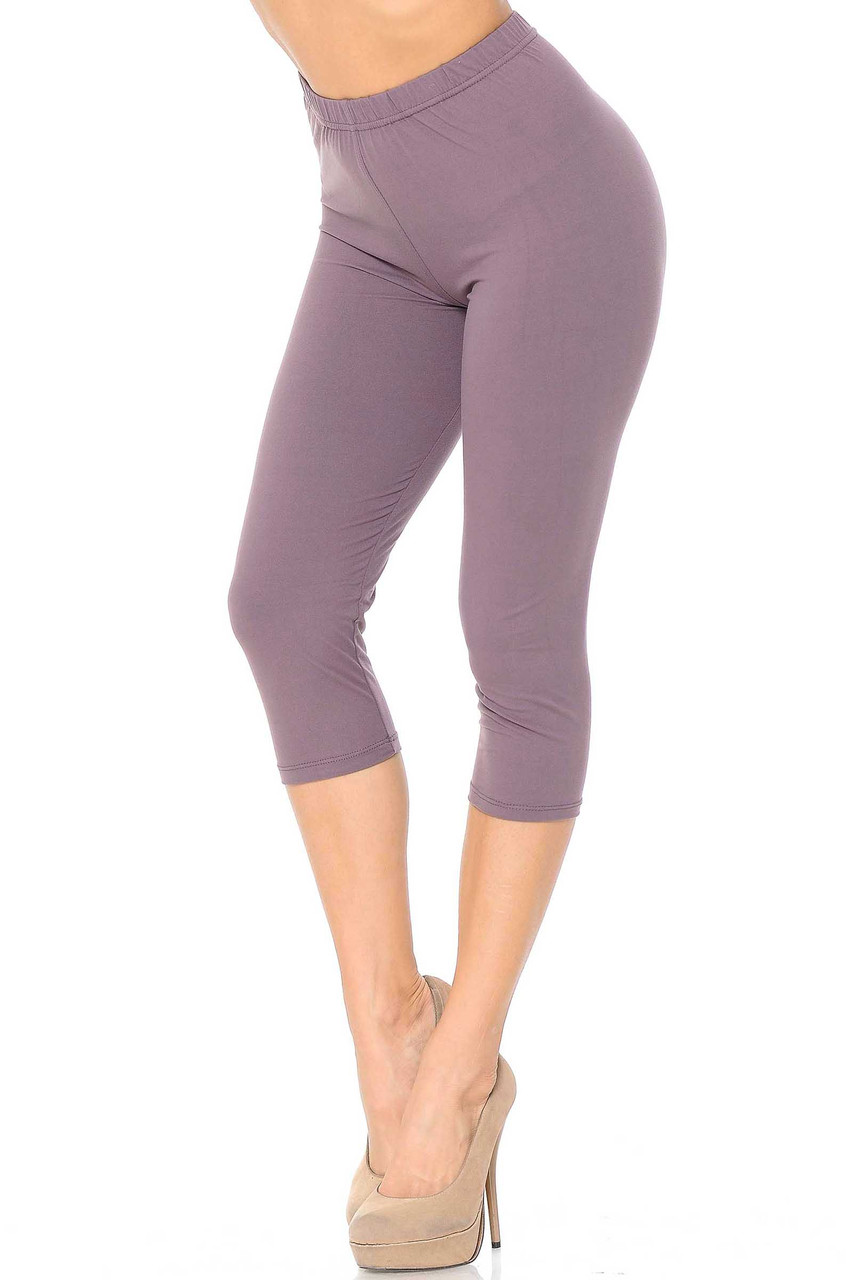 45 degree view of Dusty Plum Buttery Soft Basic Solid Capris - New Mix