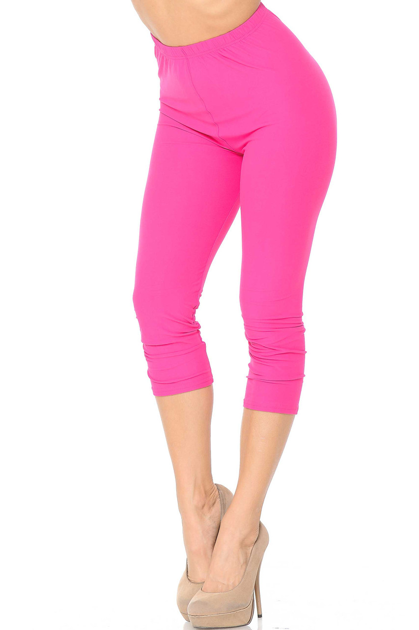 45 degree view of Pink Buttery Soft Basic Solid Capris - New Mix