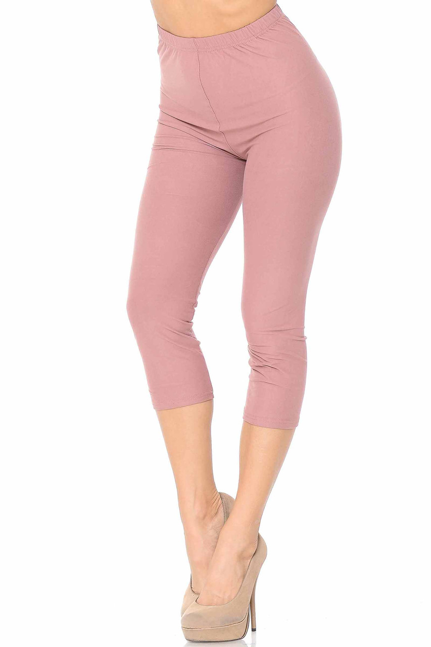 45 degree view of Mauve Buttery Soft Basic Solid Capris - New Mix