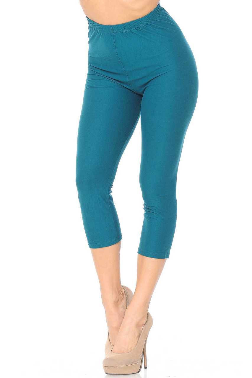 45 degree view of Jade Buttery Soft Basic Solid Capris - New Mix