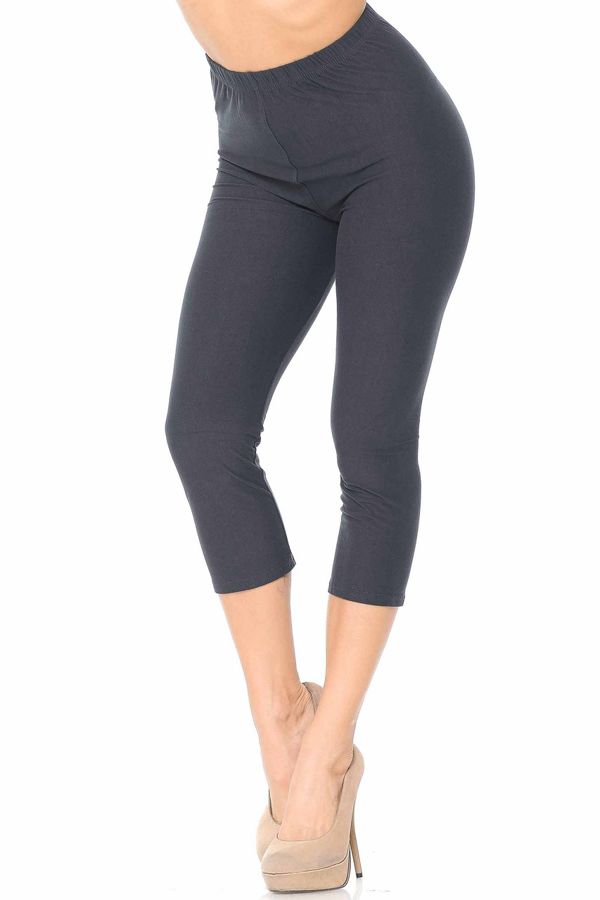 45 degree view of Charcoal Buttery Soft Basic Solid Capris - New Mix
