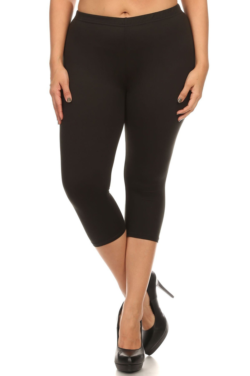 Front view of Black Buttery Soft Basic Solid Plus Size Capris - New Mix
