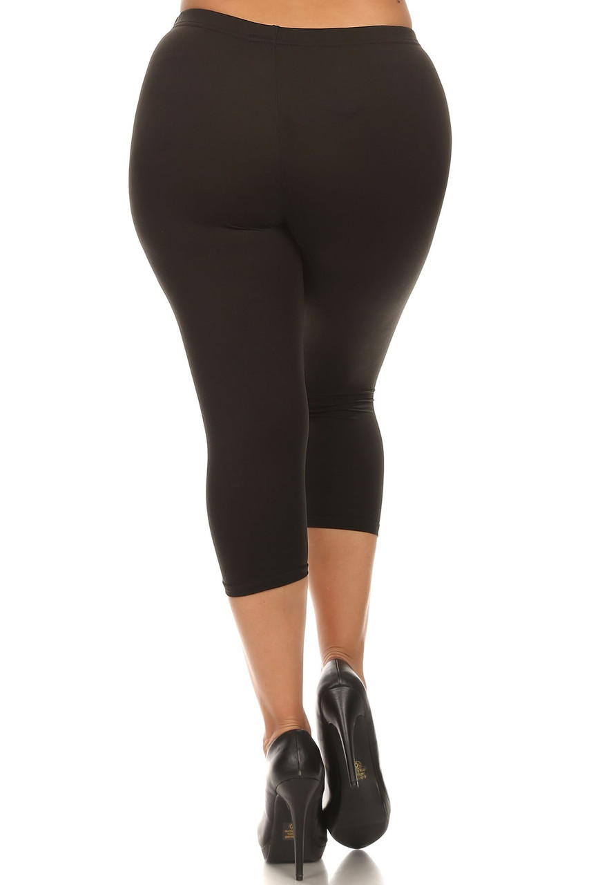 Rear view of Black Buttery Soft Basic Solid Plus Size Capris - New Mix