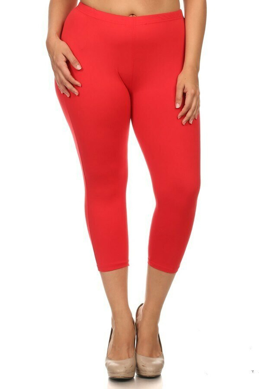 Front view of Red Buttery Soft Basic Solid Plus Size Capris - New Mix