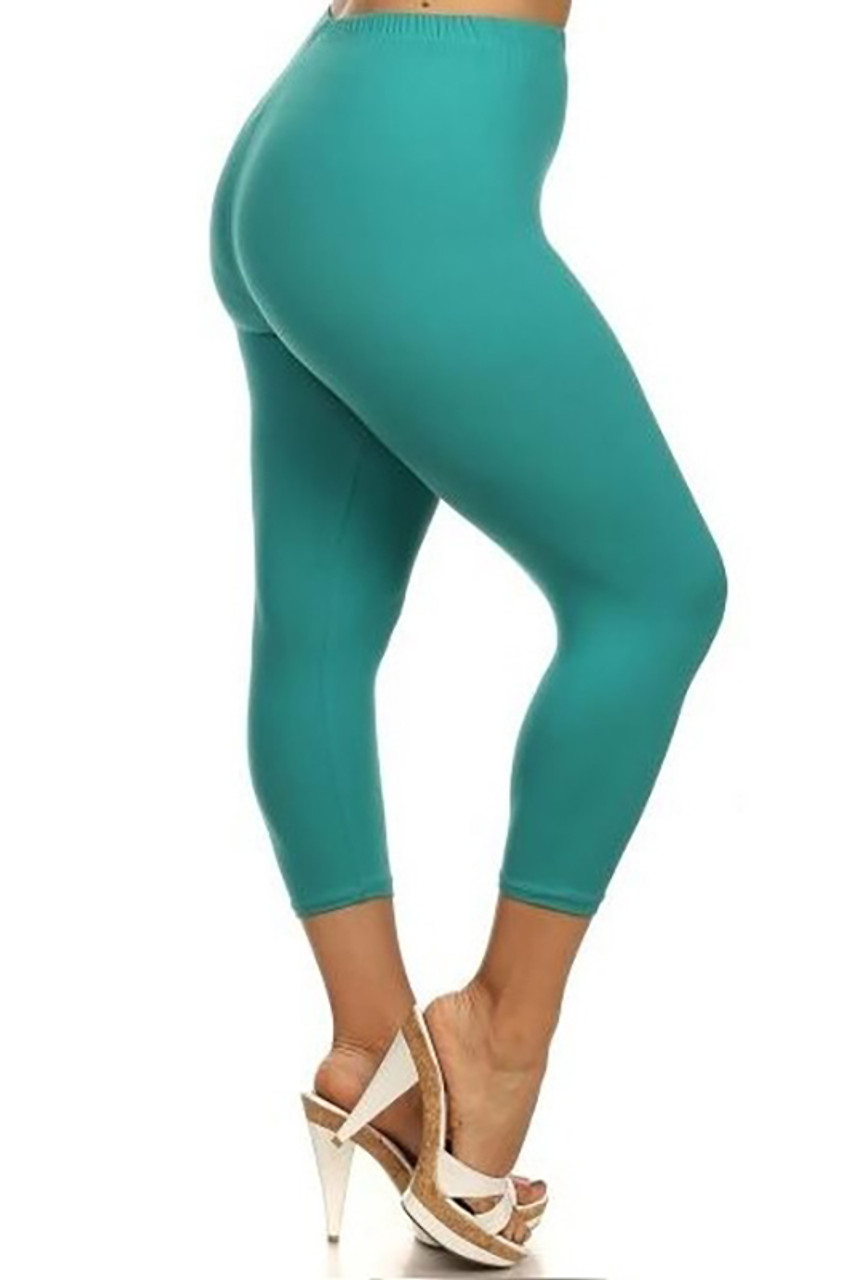Right side view of Buttery Soft Basic Solid Plus Size Capris - New Mix