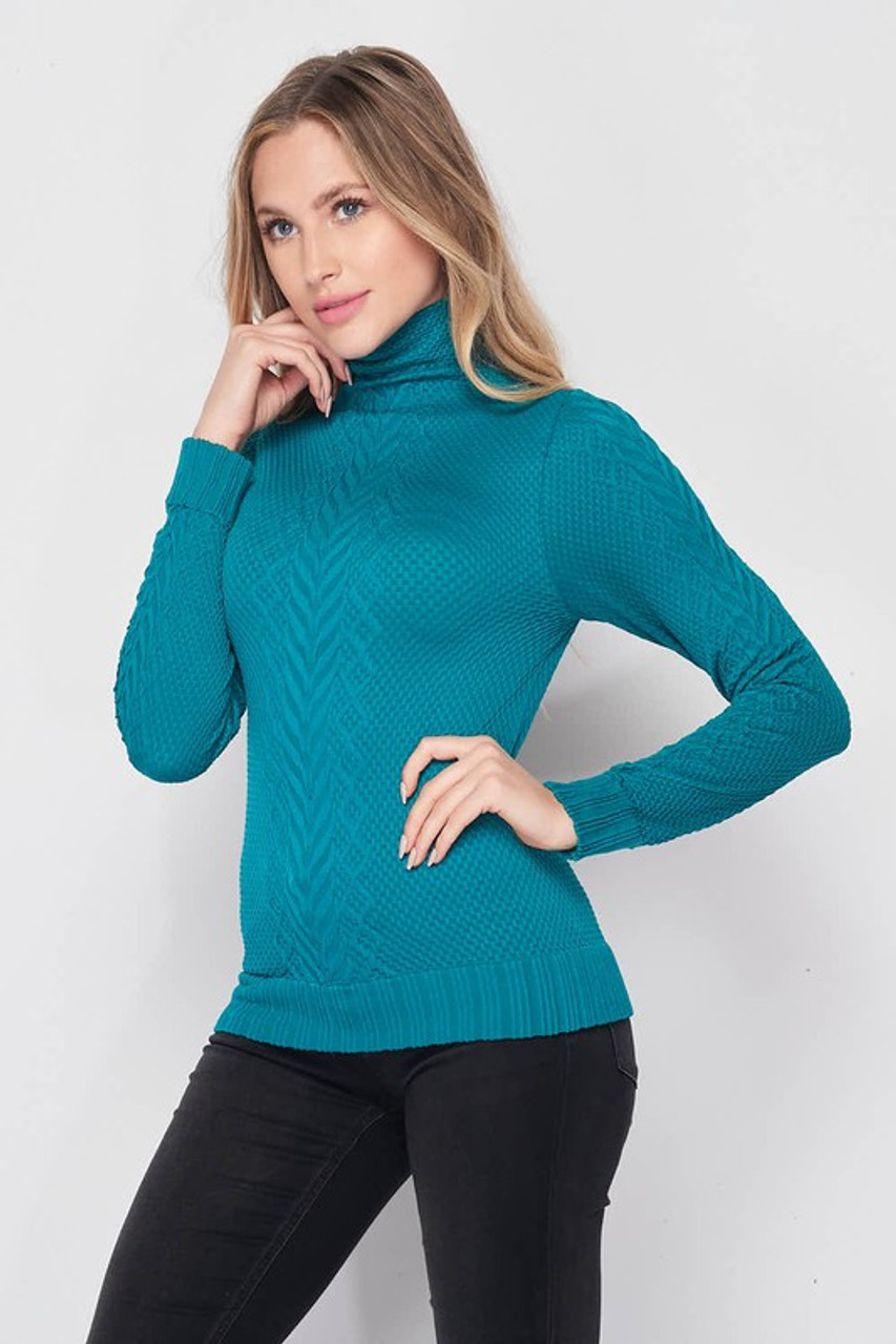 Front of Seamless Fitted Mock Neck Cable Knit Top