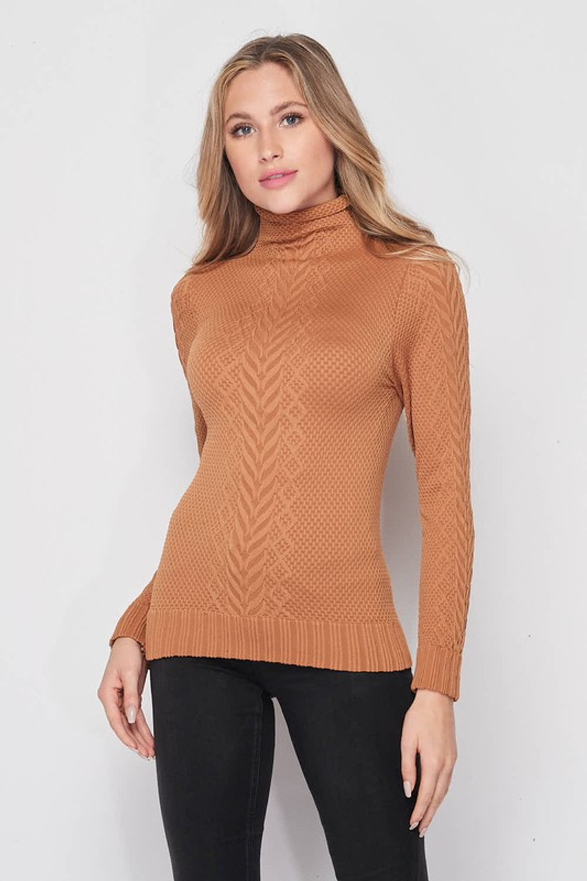 Front of Camel Seamless Fitted Mock Neck Cable Knit Top