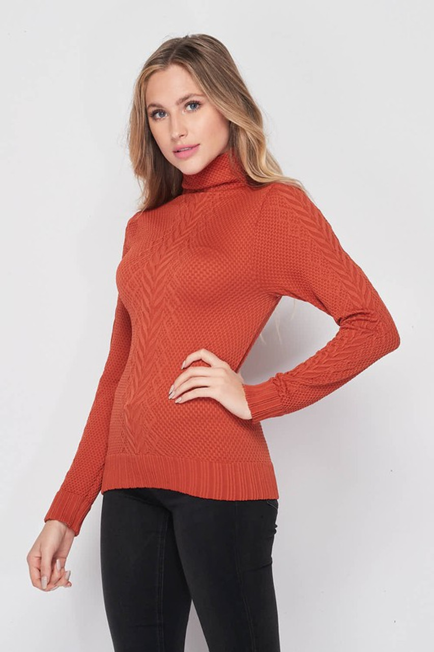 45 degree left side image of Seamless Fitted Mock Neck Cable Knit Top
