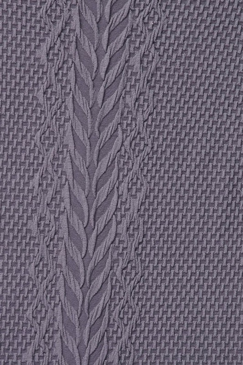 Close-up swatch of Grey Seamless Fitted Mock Neck Cable Knit Top