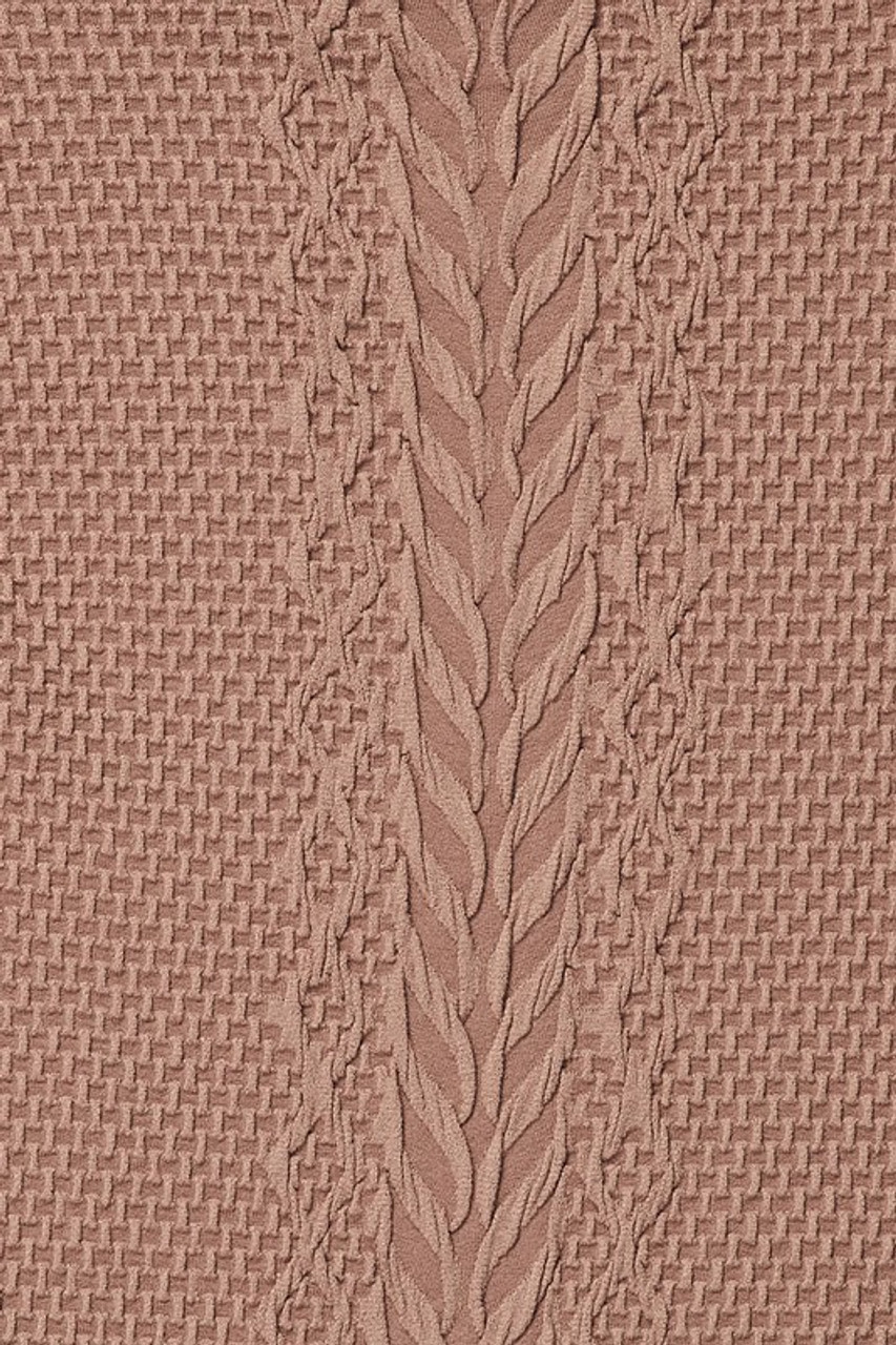 Close-up swatch of Mocha Seamless Fitted Mock Neck Cable Knit Top