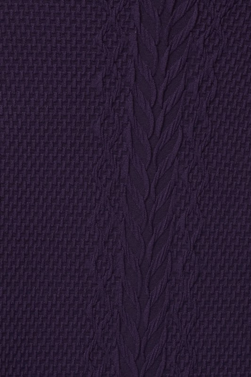 Close-up swatch of Puple Seamless Fitted Mock Neck Cable Knit Top