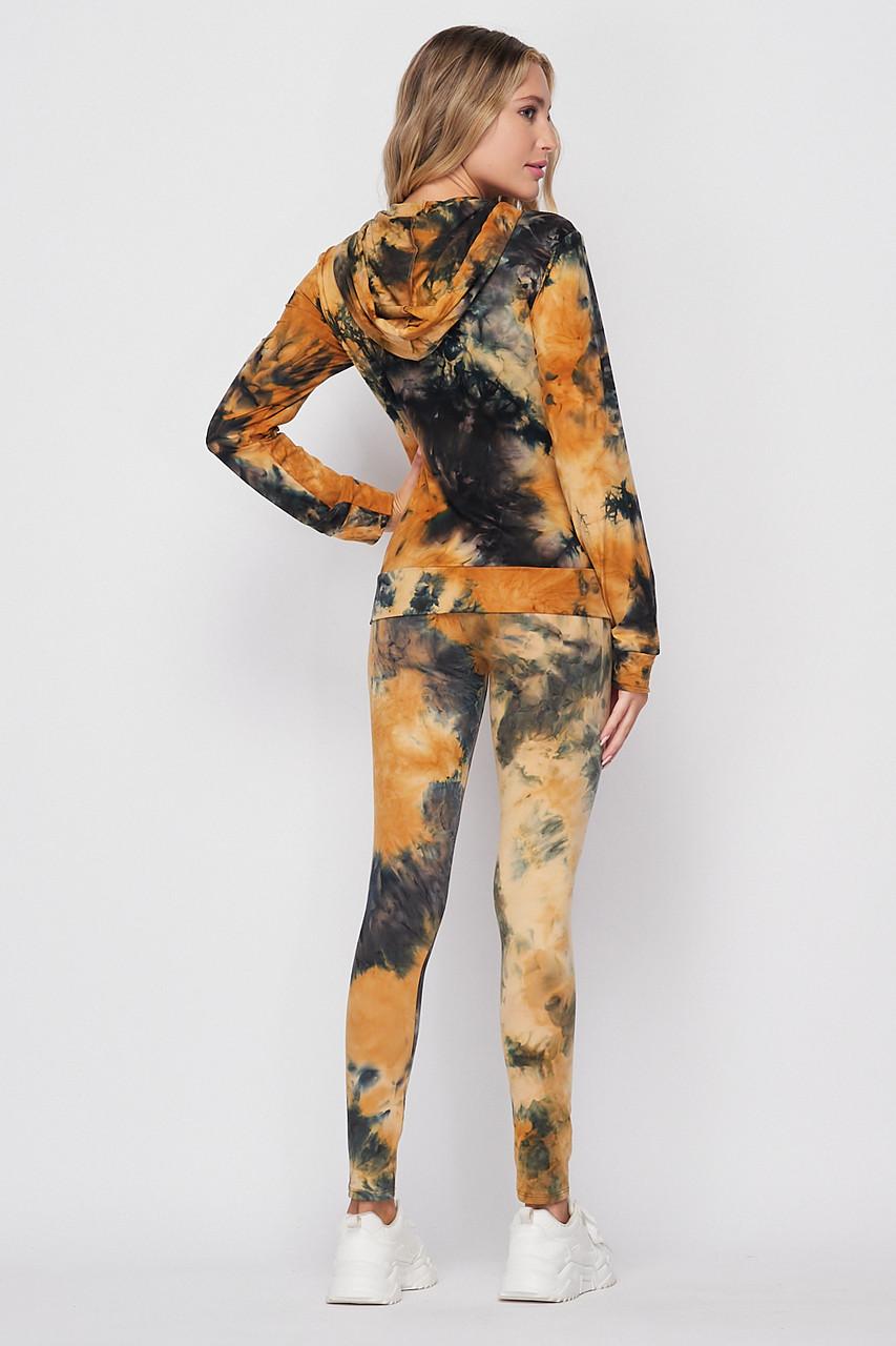 Back side of Camel Tie Dye 2 Piece Leggings and Hooded Jacket Set