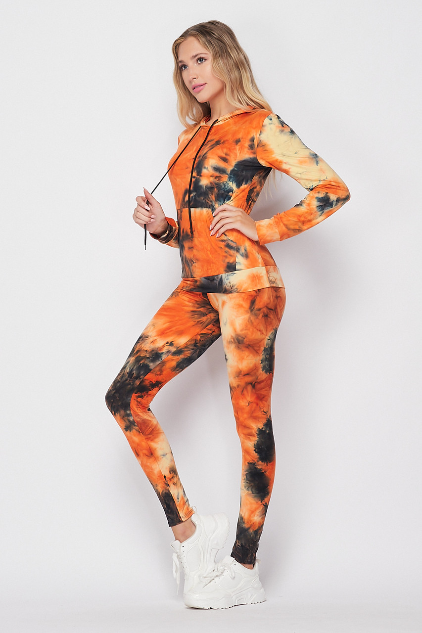Left side of Orange Tie Dye 2 Piece Leggings and Hooded Jacket Set