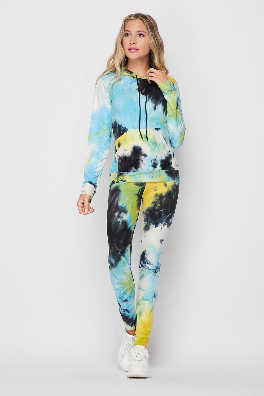 Front side image of Blue Tie Dye 2 Piece Leggings and Hooded Jacket Set