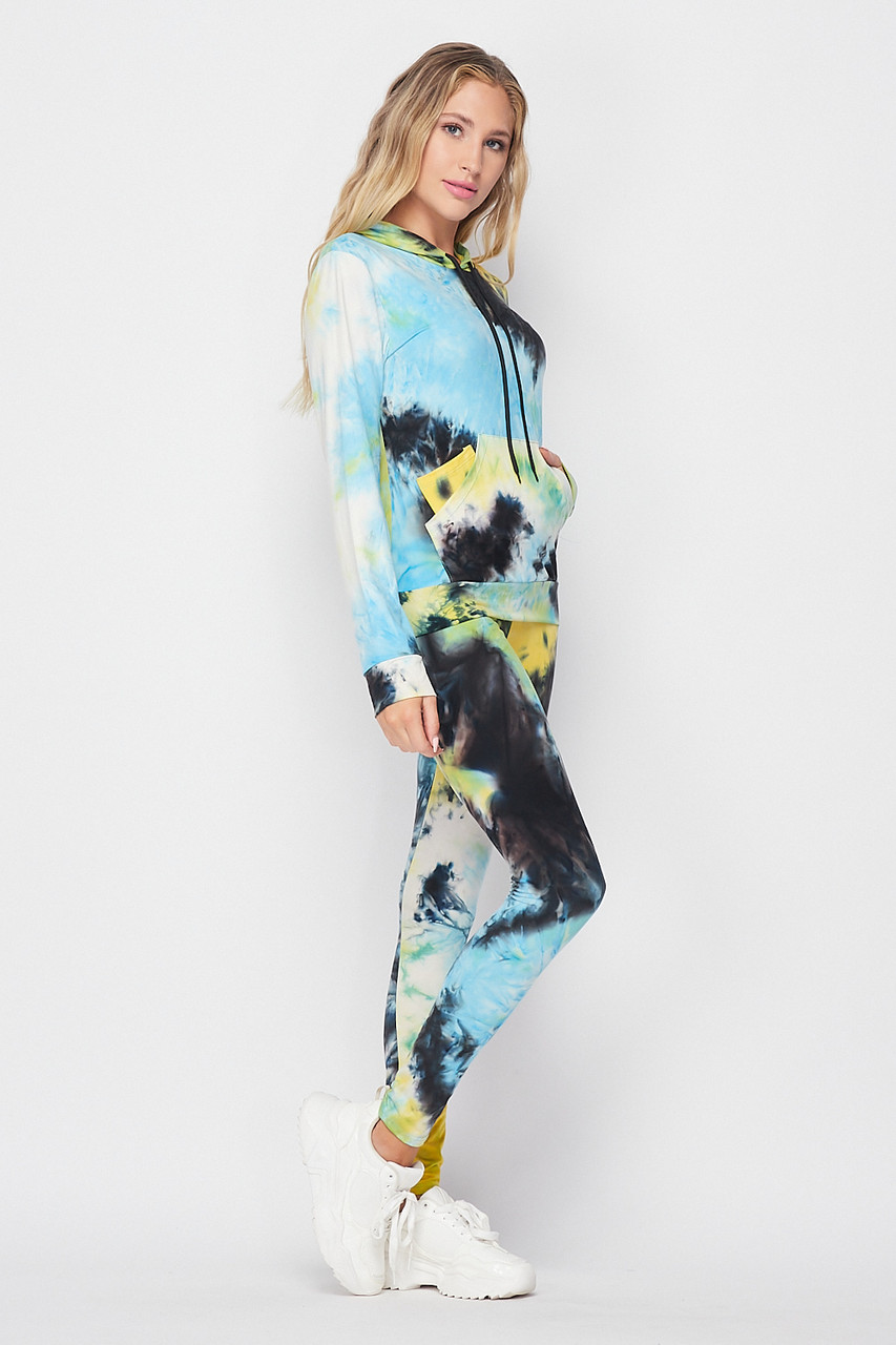 Right side image of Blue Tie Dye 2 Piece Leggings and Hooded Jacket Set