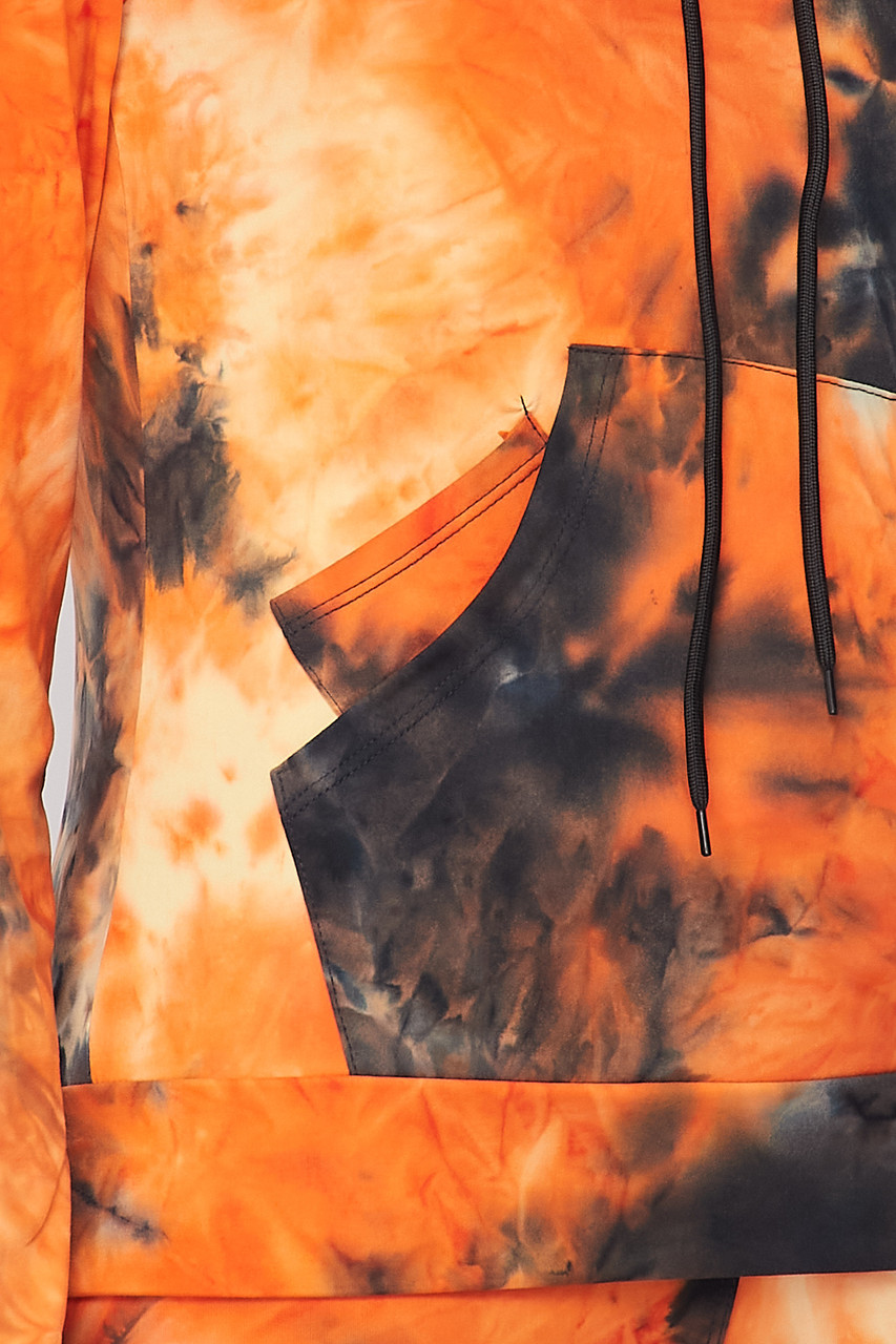 Close-up fabric swatch of Orange Tie Dye 2 Piece Leggings and Hooded Jacket Set