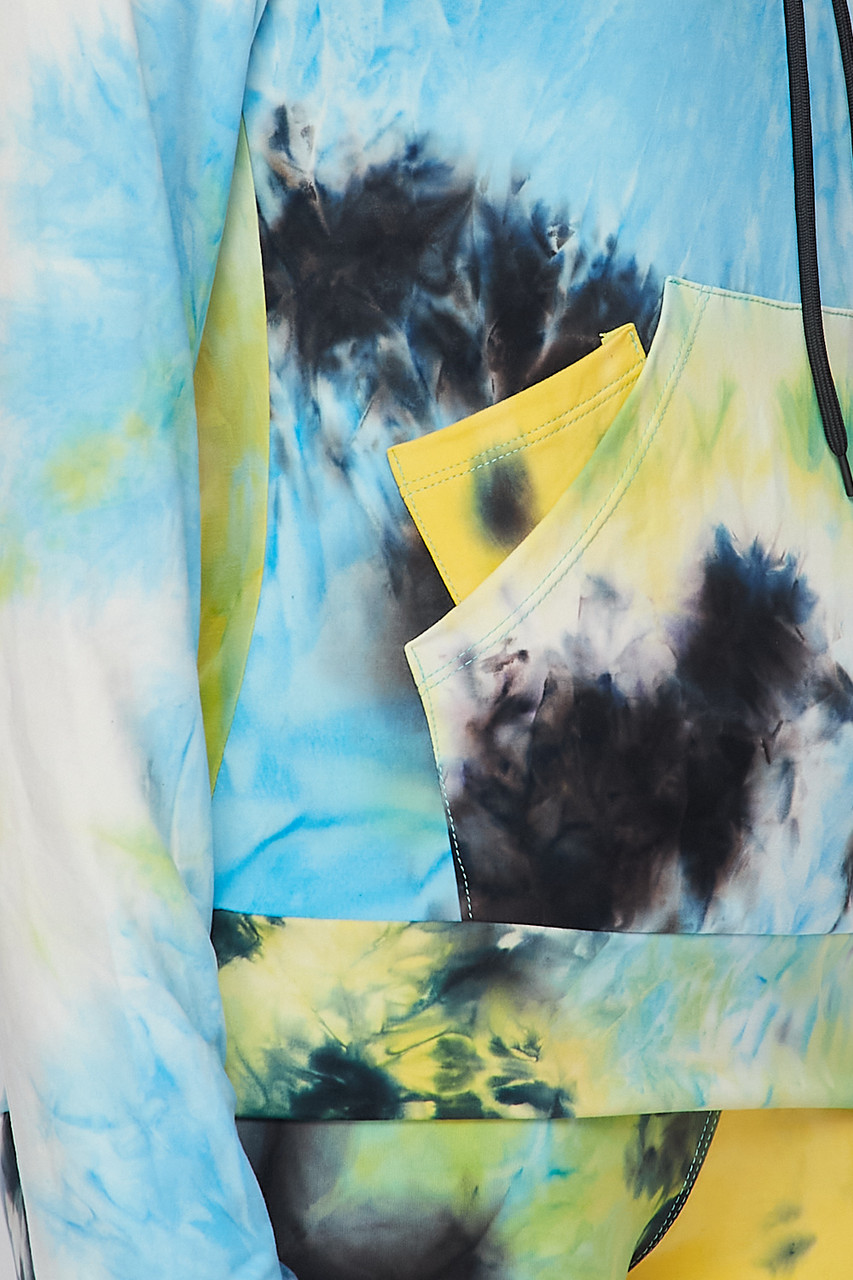 Close-up fabric swatch of Blue Tie Dye 2 Piece Leggings and Hooded Jacket Set