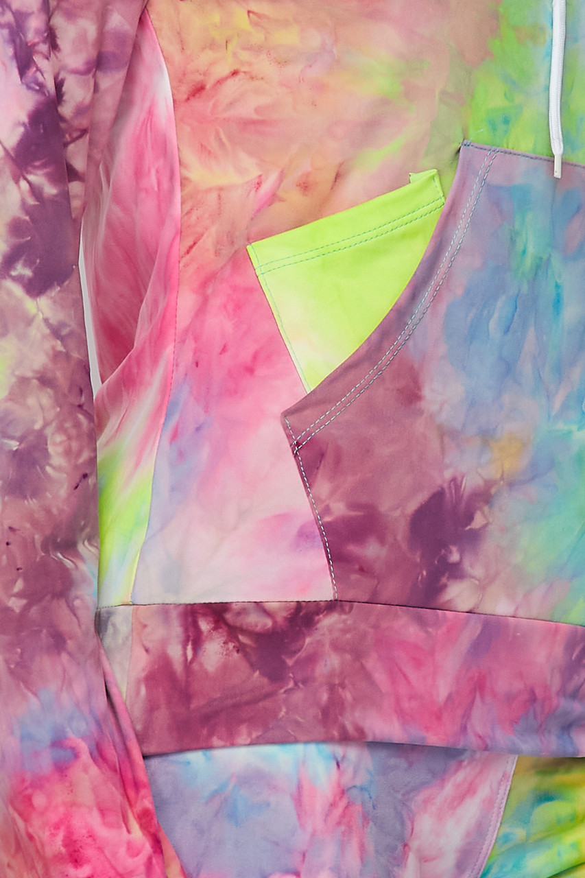 Close-up fabric swatch of Blue/Pink Tie Dye 2 Piece Leggings and Hooded Jacket Set
