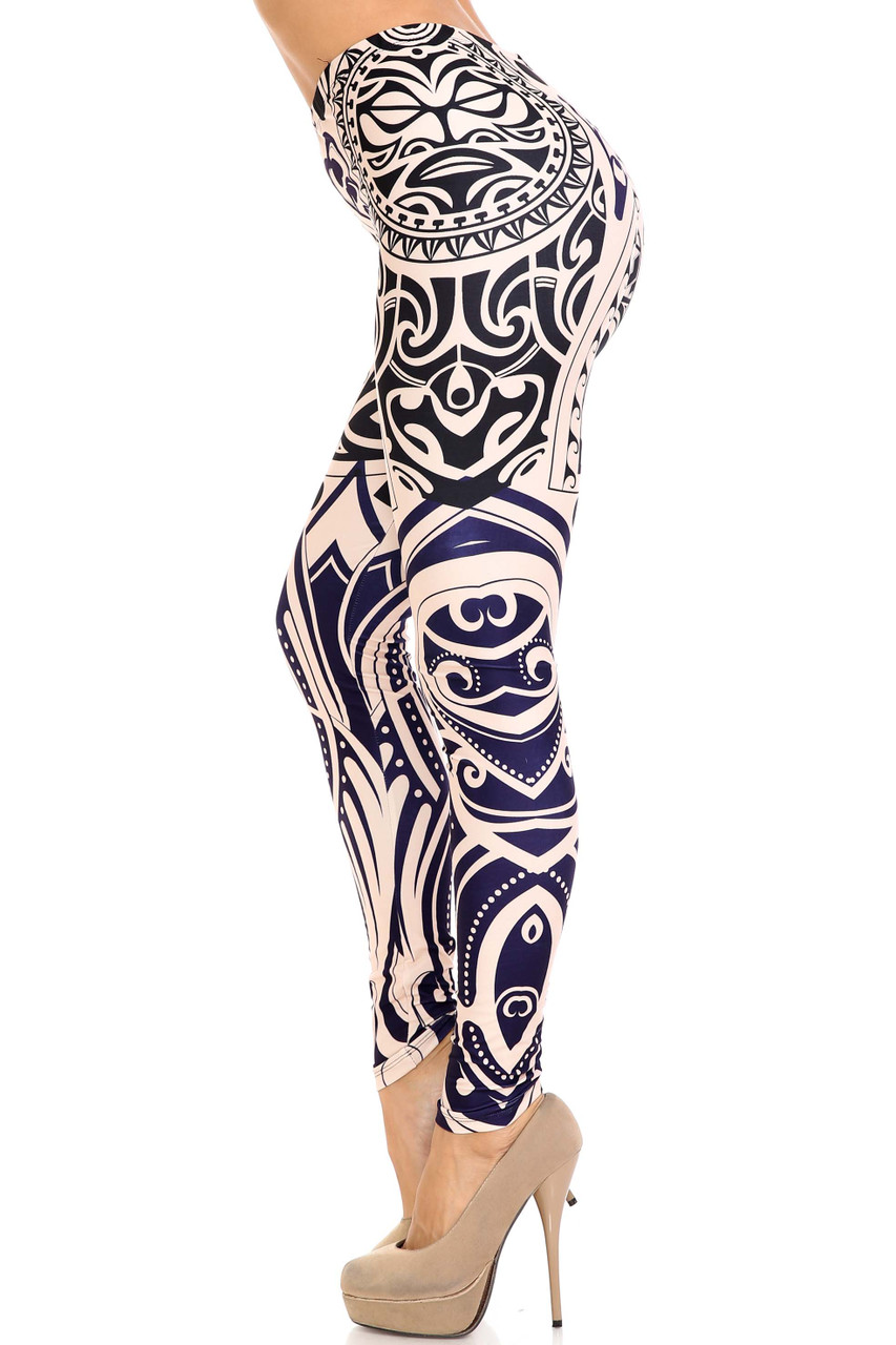 Left side of Creamy Soft Valhalla Extra Plus Size Leggings - 3X-5X - USA Fashion™