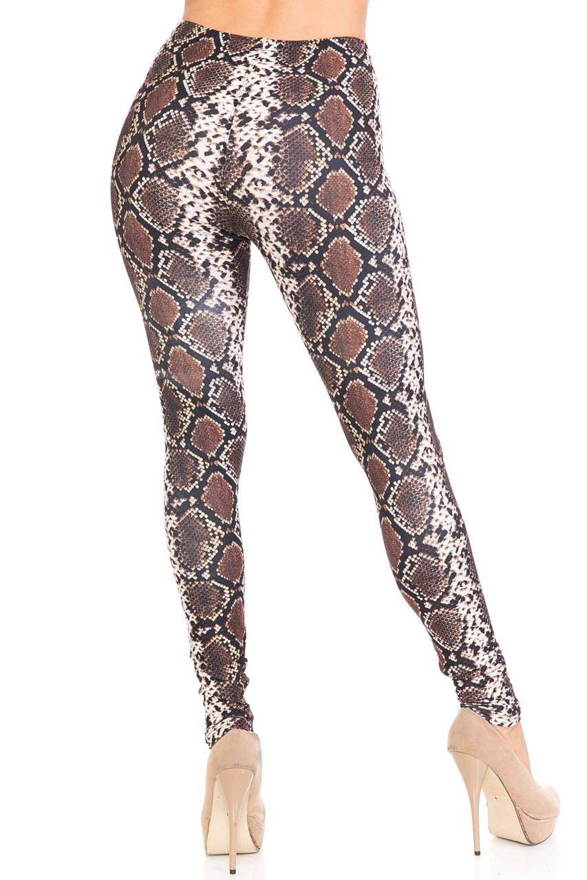 Back view of our sexy Creamy Soft Brown Boa Plus Size Leggings - USA Fashion™ with a sassy all over reptile print.