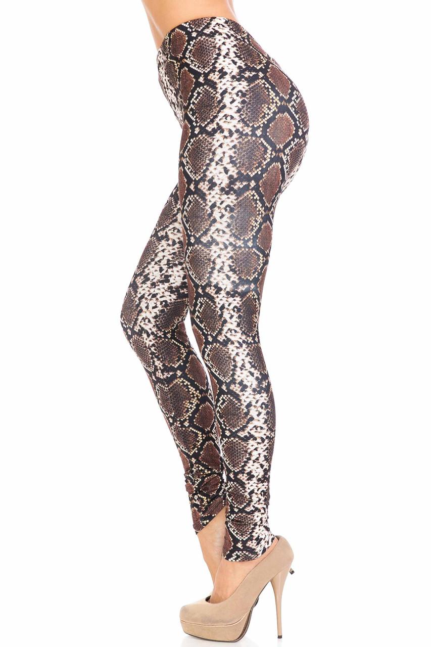 Left side of Creamy Soft  Brown Boa Snake Extra Plus Size Leggings - 3X-5X - USA Fashion™